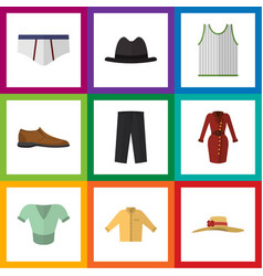 flat icon clothes set of singlet underclothes vector image