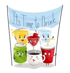 Funny drink cartoon character set vector image