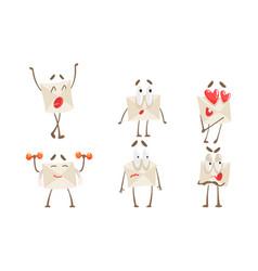funny paper envelope cartoon character set cute vector image