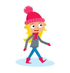 girl teenage walking cartoon vector image