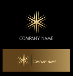 Gold star geometry shine logo vector