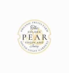 Golden pear farm badge or logo template hand vector