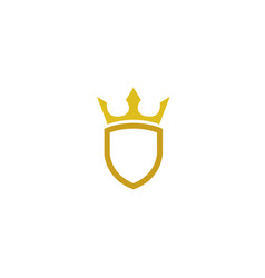 golden shield with a crown for logo design vector image