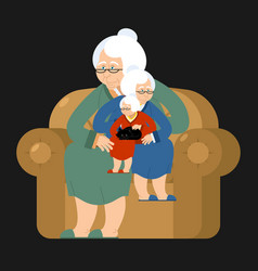 grandmother recursion sits on chair grandma vector image