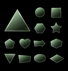 green glass plates set textured frames with glow vector image