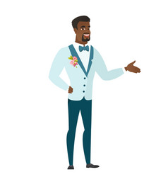 Groom with arm out in a welcoming gesture vector