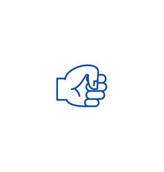 hand fist line icon concept hand fist flat vector image