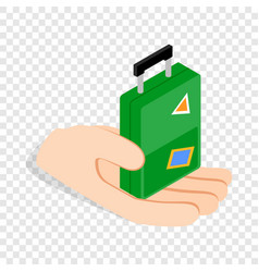 hand holding a travel suitcase isometric icon vector image