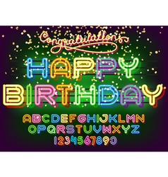 Happy Birthday lettering Neon Font vector image