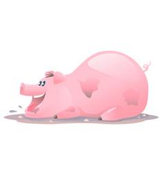 Happy pig cartoon in mud vector