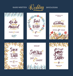 Invitation cards for wedding with calligraphy vector