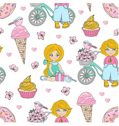 kid party valentines seamless pattern vector image