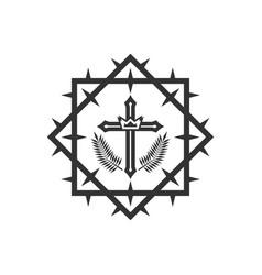 Kings crown in center cross frame vector