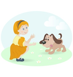 little girl with happy dog vector image