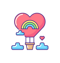 Love baloon rgb color icon vector