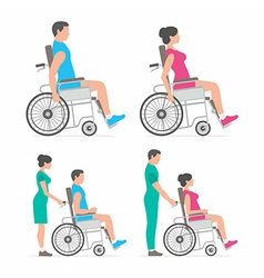 man and woman in wheelchair vector image