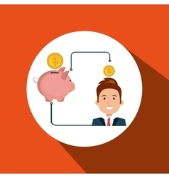 Man cartoon piggy currency money vector