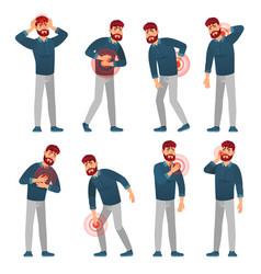 man in pain sickness men pain areas migraine vector image