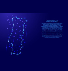 map portugal from the contours network blue vector image