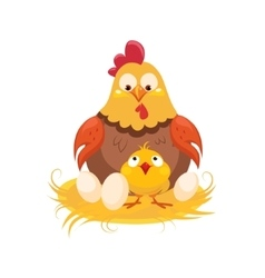 Mother And Baby Chicken In The Nest With Couple Of vector image vector image