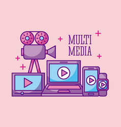multimedia technology device digital wireless vector image