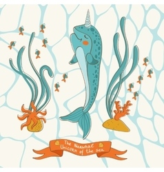 Narwhal the unicorn of the sea vector
