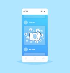 online mobile application biometric fingerprint vector image