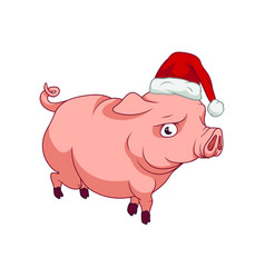piggy with a santas hat on walking new year 2019 vector image