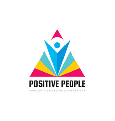 Positive people - concept business logo template vector