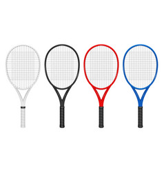 Realistic tennis racket set closeup vector