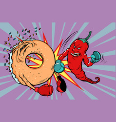 Red pepper beats a donut vector