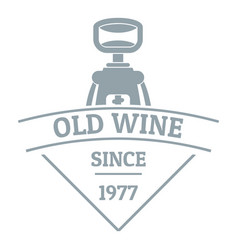 restaurant wine logo simple gray style vector image