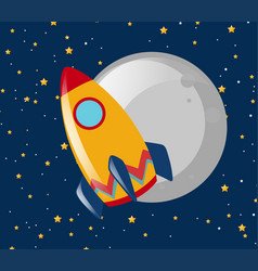 rocket ride to the moon at night vector image