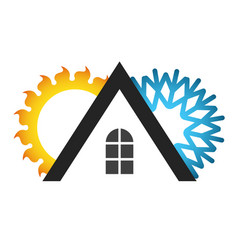 Roof of the house air conditioner symbol vector