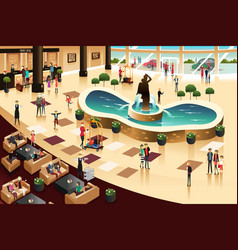 Scenes inside a hotel lobby vector