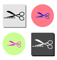 scissors with cut lines flat icon vector image