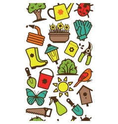 Seamless pattern of garden tools and accessories vector image