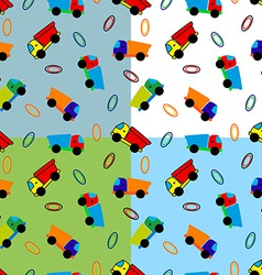 Seamless toy truck pattern vector image