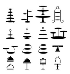 Set cake stand in silhouette icon vector