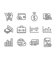 Set finance icons such as report online vector
