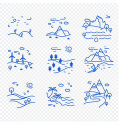 Set natural landscapes icons vector