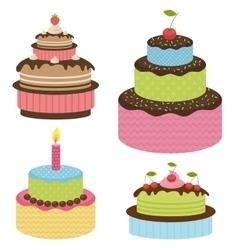 Set of birthday cakes vector