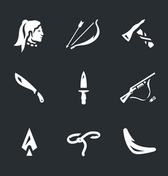 Set of indians weapons icons vector