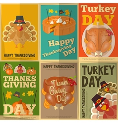Set of Vintage Turkey Day Mini Posters vector image