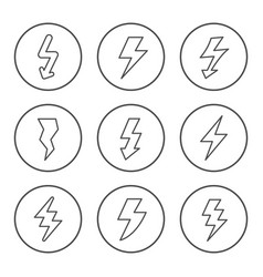 set round line icons lightning vector image