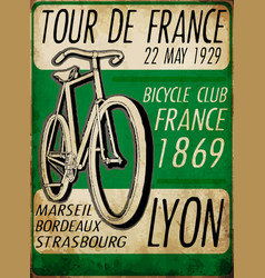Sketch bicycle tour de france poster vintage bike vector