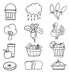 Stock collection thanksgiving hand draw doodles vector image