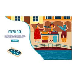 Street food fish stall web banner vector