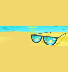 sun glasses on beach with sunset reflection vector image