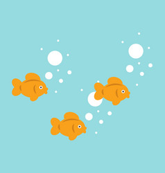 Sweet little goldfish are swimming cute fish vector